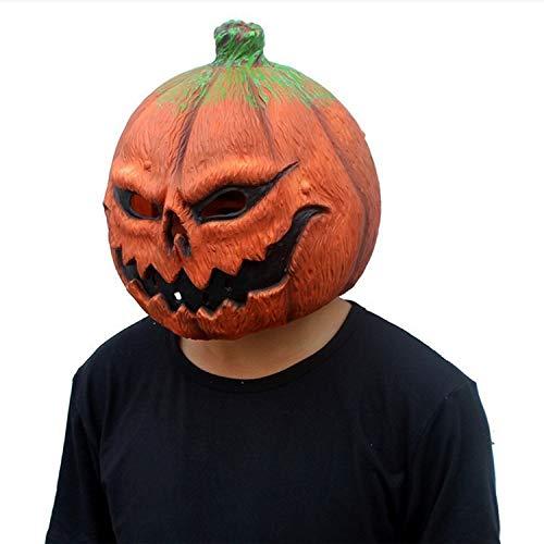 (XIAOLONGY Halloween Kürbis Kopf Maske Lustige Gesicht Latex Tanzparty Kostüme Machen Eine Kopfbedeckung Ghost Festival Kürbis Taro, Orange Rot,Orange)