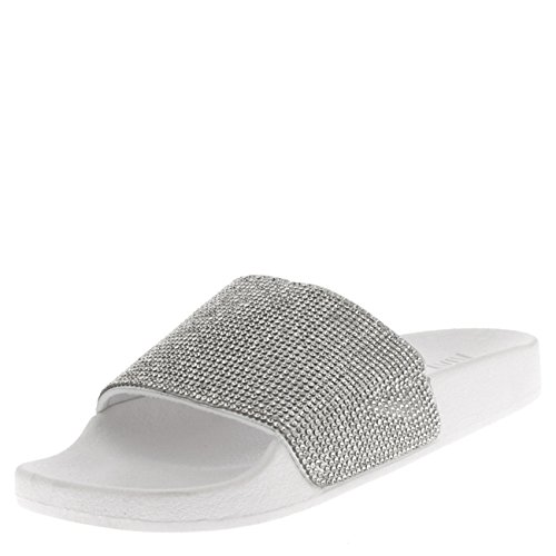 Viva Damen Diamant Mode Plattform Schieberegler Schlüpfen Maultiere Sommer Schuhe Sandalen - Weiß PN0134 4UK/37