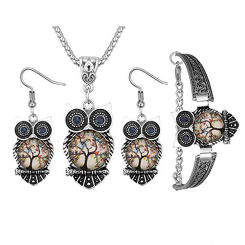 Pendientes + Collar + Pulsera enroscable Set, qianyou 3x elefante/Búho joyas mujer...