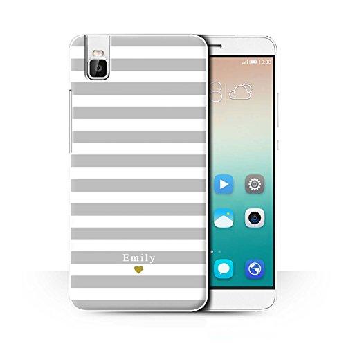 Stuff4® Personalisiert Individuell Streifen/Gestreift Hülle für Huawei Honor 7i/ShotX/Silber/Grau Herz Design/Initiale/Name/Text Schutzhülle/Case/Etui