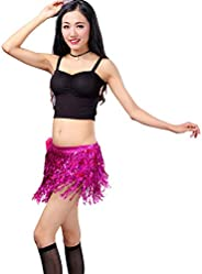 Women's Summer Beach Wrap Sequins Tassel Mini Skirts Belly Dance Hip Scarf