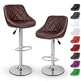 TRESKO 2 x Taburetes de Bar, Disponible en 11 Diferentes Colores, con tapizado Confortable, Acabado de Cromo,...