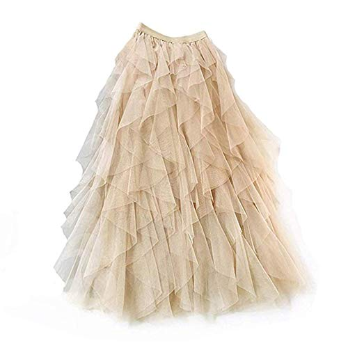 Gonna di pizzo da donna a-line layered princess lotus leaf stitching layered layered tulle midi gonna casual fashion maxi skirt (color : beige)