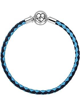 SOUFEEL Blau Lederarmband 925er Sterlingsilber 16-23cm