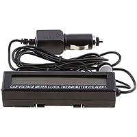 Dolity 1x Medidor de Voltaje de Temperatura Termómetro Reloj para Automóvil con LCD Pantalla Gran