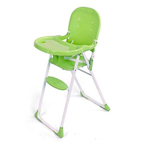 TTrar tragbarer Klappstuhl Portable Baby Hochstuhl, Faltbarer Contempo Hochstuhl, Kunststoff Baby Dinette Stuhl, herausnehmbares Tablett, Höhenverstellung Praktisch und praktisch (Farbe : Grün) -