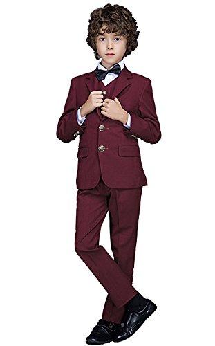 Icegrey Festlicher Jungen Anzug Smoking 3 Stück Zwei-Knopf-Klage-Set Jacke Weste und Hose Weinrot 7-8 Jahre 130CM (Stück-zwei-knopf-anzug 3)