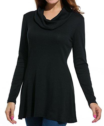 Meaneor Damen pullover Winter Sexy Longpulli Top Stretch Reine Farbe Schwarz -