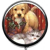 LinJxLee Christmas cat Dog Round Pill Case Pill Box Tablet Vitamin Organizer Easy to Carry preisvergleich bei billige-tabletten.eu