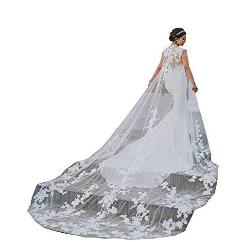 Kengtong Weiß Spitzen-Tüll Braut Hochzeit Capes Wraps Frauen Brautjungfer Schals Braut Wrape (Elfenbein, 200cm) - Tüll Mantel