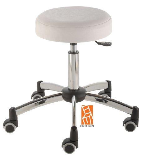 Arbeitshocker, Arzthocker, Drehhocker, Rollhocker Modell steel Hubbereich ca. 44 -58 cm, Rollen mit weicher Radbandage, Sitzfarbe weiss