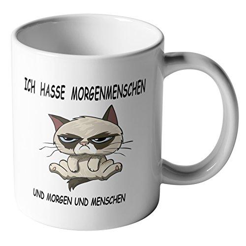 Kaffee-Tasse 'Ich hasse Morgenmenschen...' + Spruch Motiv beidseitig + Morgenmuffel + Büro...