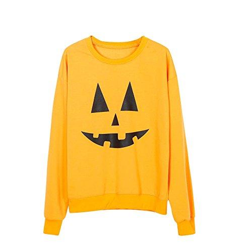 (SANFASHION Halloween Damen Sweatshirts Tops Print Langarmshirt Pullover Bluse Kürbis Shirt Streetwear)