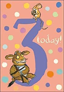 The Gruffalo's Child Age 3/3rd Birthday Card - Pink