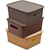Kuber Industries Plastic 3 Pieces Small Size Multipurpose Solitaire Storage Basket with Lid (Multi) -CTLTC010898