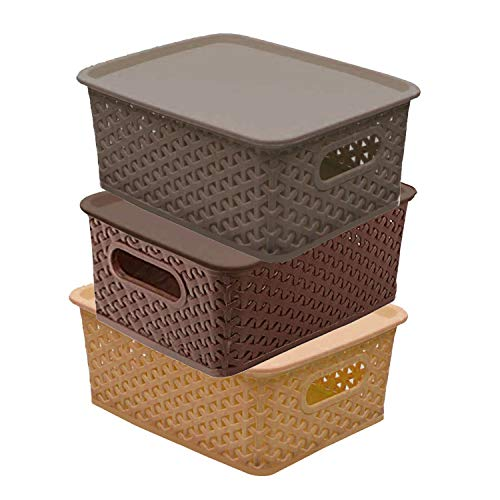 Kuber Industries Plastic 3 Pieces Small Size Multipurpose Solitaire Storage Basket with Lid (Multi) -CTLTC10898
