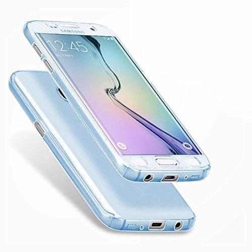 Minto Crystal TPU Full Body 360 ° Hülle iPhone 7 Plus Silikon Case Cover Etui Tasche - transparent Komplett Schutzhülle Hellblau -s6 edge+