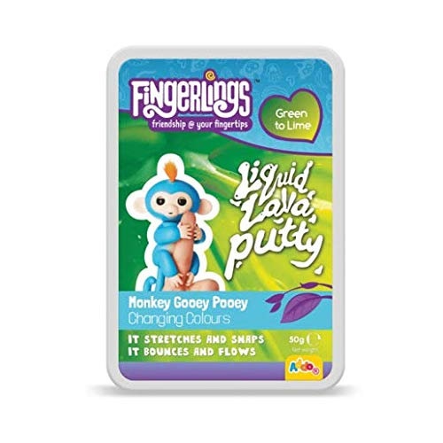Fingerlings - Liquid Lava Putty - Monkey Gooey Pooey - Green to Lime - Knete mit Farbwechselfunktion (Putty Lime)