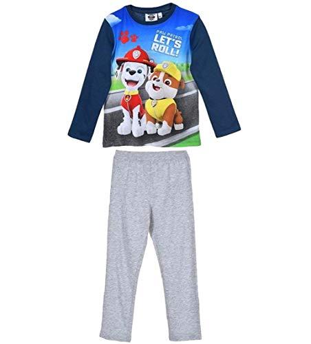 Paw Patrol Schlafanzug Jungen Pyjama Lang (Grau-Blau, 104-110)