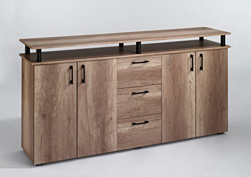 CAVADORE Design Sideboard SWING 02 - Moderne Kommode mit Aufsatz in Monument Oak - braun - Highboard