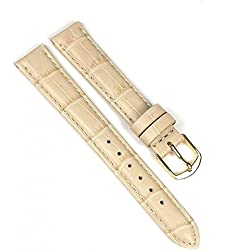 Eulit Guinea Replacement Band Watch Band Leather Kalf Strap Beige 8007_21G, Abutting:12 mm