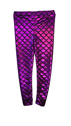 Crazy Chick® Girls Kids Fish Scale Mermaid Purple Holographic Slim Metallic Leggings Age 5-13 Years