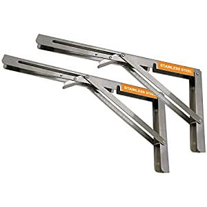 """Volo Premium Heavy Duty 300mm/ 12"""" Foldable Stainless Steel Multipurpose Bracket with Fittings for fold Down Table or fold Down Racks."""