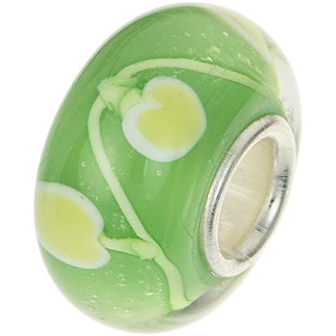 Argento Sterling 925Vetro di Murano verde mela per europea Charm Bracelet