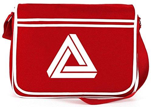 Shirtstreet24, Unmögliches Dreieck, Retro Messenger Bag Kuriertasche Umhängetasche Rot