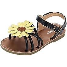 Sandalias Niña verano ❤️ Amlaiworld Sandalias romanas de niña bebé de flores Zapatos de princesa Zapatos planos Zapatilla de niñas de playa Zapatos de cuna Chica (Negro, 23)