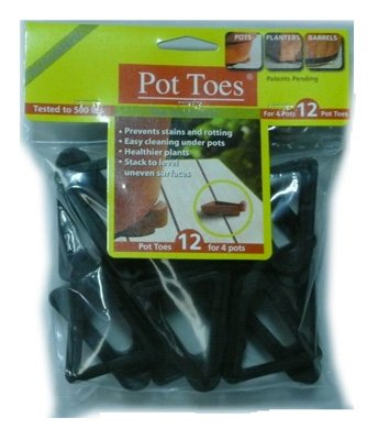 PLANT STAND INC - Decksaver Garden Pot Toes, Black, 3-In., 12-Pk.