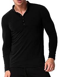 MODCHOK Hombre Camiseta Manga Larga Henley T-Shirt Sudaderas Botones Casual Algodón tNbDr930x