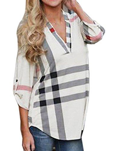 Smile YKK Femme Veste Tops Chemise Rayures Manches 3/4 Col V Slim Mode Carreaux Blanc