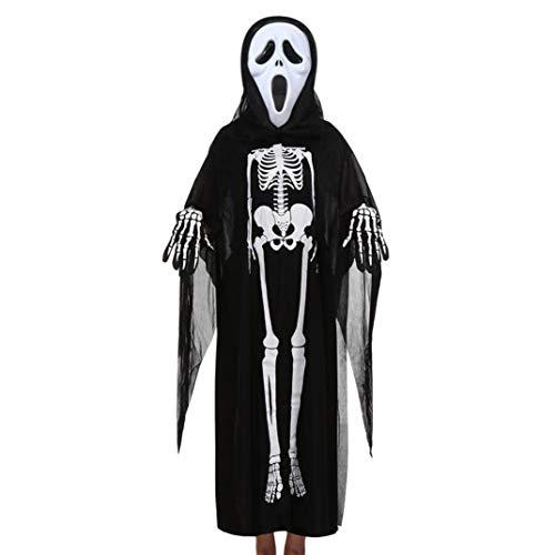 Halloween Kostüm, Frashing Unisex Kinder Langarm-Mantel + Horror-Maske + Handschuhe, dreiteilig, Halloween Cosplay Set Spukhaus Einschüchterungsrequisiten, 7 Arten von Masken