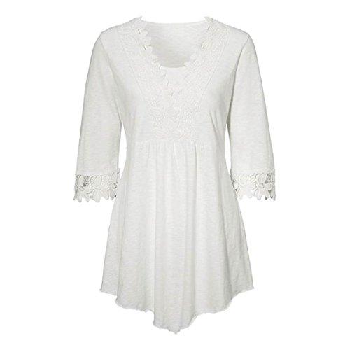 Casuale Maniche Bianche Con Camicia Cucitura Di Camicie Cucitura Donna Solida Top Base Cappotto Manadlian qUFwx