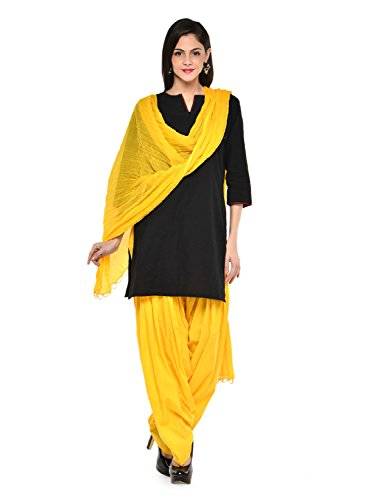 Stylenmart Women Cotton Solid Full Patiala Salwar Dupatta Set (Stmapa078636_Yellow_Free Size)