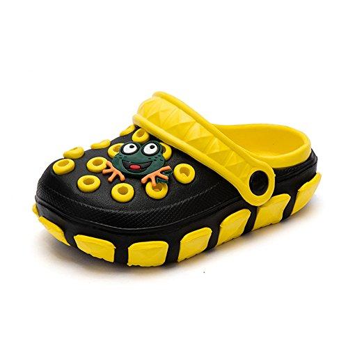 Kleine Tomate Unisex Kinder Hausschuhe Kinder Clogs Gartenschuhe Bequemer Atmungsaktiv Strand Aqua Slippers, Schwarz+Gelb, Gr. 26(Schuhe Innenlänge:15.5cm) (Jungen Clog-sandalen)