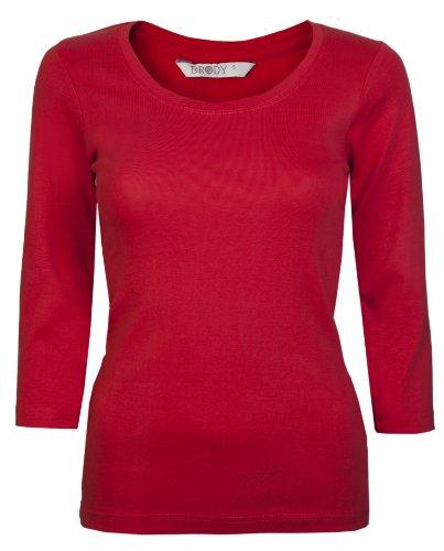 Damen-Oberteile für Damen in 3/4-Sleeve T-Shirts, Baumwolle, kurzärmlig, exklusiv von Brody & Co ®, Basics, Gr. 34-42 (UK 8-16) Rot - Rot
