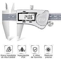 Pie de Rey Digital Dijite Calibre Digital Profesional, Pantalla Electrónica LCD de Acero Inoxidable, Impermeable IP54, ± 0.03mm Gran pantalla LCD 0-150mm Medida Calibre Profundidad Paso Indoor Outdoor
