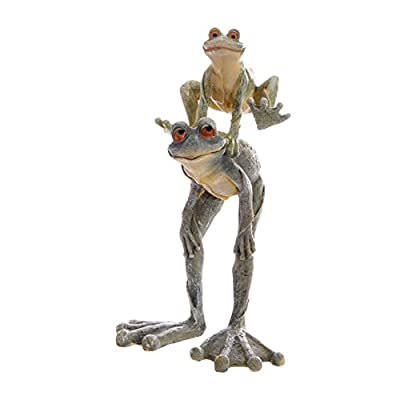 GARDEN ORNAMENT - Cute Pair of FATHER & SON FROGS playing LEAP FROG - Ideal Pond Statue.