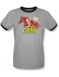 Das Flash-purpurnen Comet Adult Ringer Kurzarm T-Shirt in Heather / Black von DC Comics