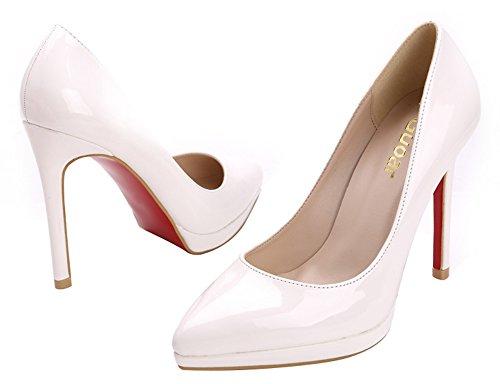 Guoar - Scarpe chiuse Donna (Weiß Lackleder)