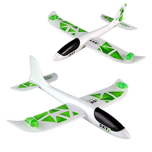 Frashing To Have Fun !!! 43*42cm Schaum Wurfs Segelflugzeug Trägheit führte Nachtfliegen Flugzeug Spielzeug Handstart Flugzeug Modell (Grün)