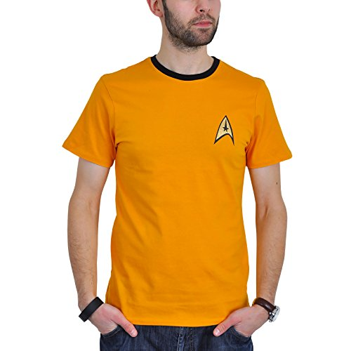 Star Trek Captain Kirk Uniform T-Shirt Raumschiff Trekkie Convention Baumw gelb Kostüm Oberteil - ()