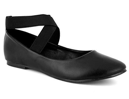 MaxMuxun Damen Geschlossene Ballerinas Flache Abendschuhe Schwarz Größe 38 EU