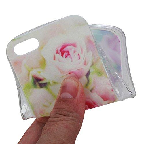 toyym Schutzhülle für iPhone SE/iPhone 5S, TPU-Schutzhülle, ultradünn, transparent, flexible Silikon-Schutzhülle für iPhone 5/5S, farbig, Blumenmuster, Tier-Design, für Apple iPhone 5/5S/SE, mit Staub Pink Rose