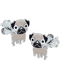 Pug Earrings - Sterling Silver