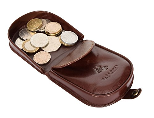 Top Qualität Echtes Leder Münztableau Mappen-Beutel-Taschen-Änderung Kasten-Geldbeutel im Geschenkkarton - Peru (Braun) Braun