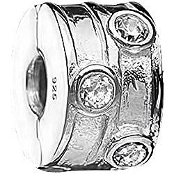 MATERIA Beads Stopper Clip 925 Silber mit Zirkonia weiß mit Gewinde inklusive Schmuckbox #1231
