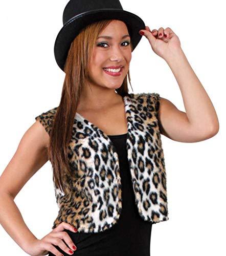 KarnevalsTeufel Damenkostüm-Set Leopard, 2-TLG Weste und Zylinder (ca. 58 cm) | M, XL | Plüsch, Tierkostüm, Karneval, Mottoparty (M)